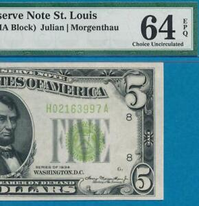 $5.00 1934  ST. LOUIS LIME GREEN SEAL  FEDERAL RESERVE NOTE PMG CHOICE NEW 64EPQ