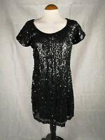 Ladies Dress Size 16 RAGE Black Stretch MINI Short Sequin Party Evening