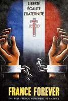 France Forever French Resistance Vintage World War II Propaganda Poster 12x18 in