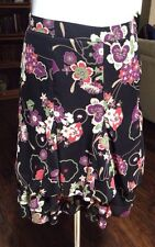 Ann Taylor LOFT Petites Black Floral Skirt Tiered Ruffle Career Casual 2P