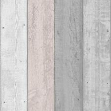 RUSTIC EFFECT PAINTED WOOD WALLPAPER GREY / BLUSH - ARTHOUSE 902809
