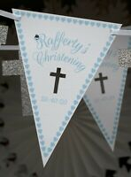 christening personalised bunting pale blue custom bespoke present banner cross