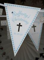 christening personalised bunting pale blue custom bespoke present banner cross