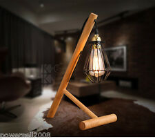 Modern Style E27 Diameter 31CM Iron+Wood Creative Bedroom Bedside Table Lamp