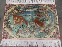 Vintage Traditional Hand Made Oriental Wool Blue Small Pictorial Rug 61x93cm