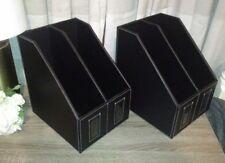 2 Faux leather Double Magazine Rack In Black NEW! Sleek stylish and modern.
