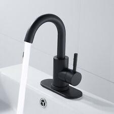NEW Single-Handle Swivel High Arc Spout Bathroom Sink Faucet Set Black US STOCK