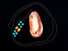 Blood Jade Stone *Flying Bat & Corn* Hand Carved Pendant w/ Necklace #10101827