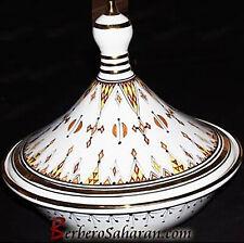 Extra Large Algerian Amazigh Symbols Ceramic Serving Tagine with liquid Gold