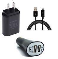 2A WALL+3.1A DUAL PORT CAR ADAPTER+MICRO USB FOR SPRINT SAMSUNG GALAXY S7