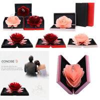 3D Pop Up Rose Ring Box Wedding Engagement Jewelry Storage Holder Case Bump PA