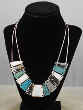 Robert Lee Morris Silvertone Green Patina White Tile Frontal Necklace $68