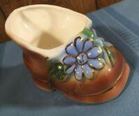Shafer Vintage Blue Flower Boot Planter With 23 K Gold Decorations