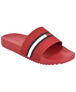 Men's Tommy Hilfiger Designer Classic Flag Logo Slippers Redder Slide Sandals