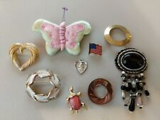 9 PIECE MIXED BROOCH FASHION JEWELRY LOT Gerrys american flag turtle butterfly