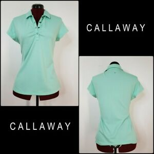 Callaway Golf Women Dri Fit Short Sleeve Polo Size Medium Teal Green