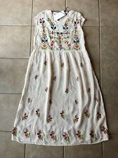 ZARA Women Long Embroidered Dress With Flowers Size Medium NWT