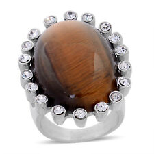 Tigers Eye Solitaire w/White Austrian Crystal Accents - Stainless Steel - Size 6