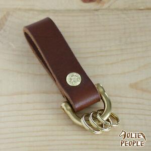 Handmade Leather Keychain Brass Dee Shackle W/ Keyring_Knife Sheath Dangler