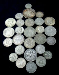 Huge Lot Unique Silver Vintage Antique Coins, Starts 1892, Total Weight 7.41 Ozt
