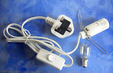 Salt Lamp White Lead UK Plug E14 switch 1.5mt cord  + BULB Selenite Crystal lamp