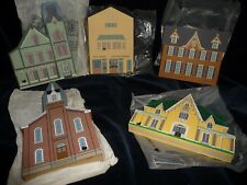 #11/4 vtg The Cat`S Meow Village Lot 5 1999 /96/91/93/95 w bags handpained wood