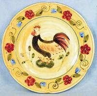 Home Rooster Salad Plate Red Blue Flowers Colorful Porcelain Blue Edge HMQ12