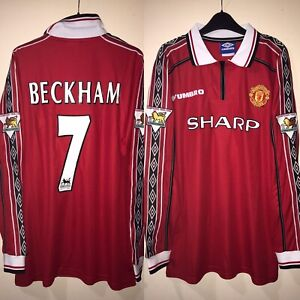 manchester united shirt XL 1999 2000 David BECKHAM #7 98/99 champions Re-listed