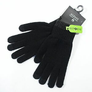 ALFANI REPREVE TOUCH SCREEN BLACK GRAY ONE SIZE KNIT GLOVES MENS NWT NEW