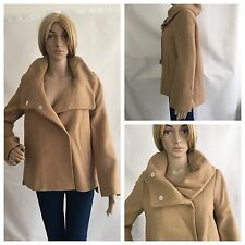 ZARA CAMEL WOOL BLEND WRAPAROUND COLLAR HOOD COAT SIZE UK M