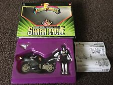 Retro 90s Mighty Morphin Power Rangers Boxed Black Ranger Zack With Shark Cycle