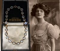 ANTIQUE ROCK CRYSTAL RIVIERE NECKLACE VICTORIAN PINCHBECK BEAUTIFUL BRIDAL GIFT