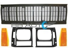 5pc Front Bumper Grille Black Headlight Bezels Lights fits 91-96 JEEP Cherokee
