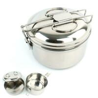 Outdoor Stainless Steel Camping Cookware Barbecue Cooking Picnic Bowl Pot Pan
