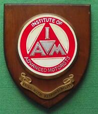 Genuine Vintage Wall Shield Plaque Crest  Institute Advanced Motorists