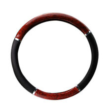 35710P Black Steering Wheel Cover With Woodgrain Design And Chrome Trim O2H7