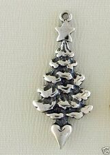 Christmas Tree 3D Traditional Charm Jewelry - 925 Sterling Silver Metal -Holiday