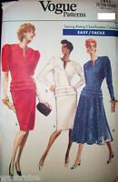 Ms MP Vogue 7411 Sewing Pattern UNCUT Easy Wrap Top Taper Flare Skirt  Sz 6-8-10