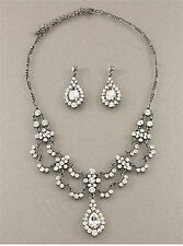 874a Bridal Vintage Victorian Swarovski Elements Clear Crystal Necklace Set