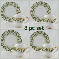 4 NORITAKE LEGENDARY HOLLY & BERRY GOLD TEA CUPS & SAUCERS CHRISTMAS CHINA