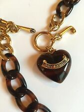 Juicy Couture Jewelry Heart Charm Necklace, Gold Tone With Tortoise Shell Accent