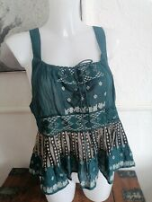 Free People Top Embroidered teal bnwt xs 8/10 bohemian
