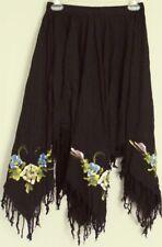 OUT DO festival SKIRT  Kerchief fringe hem Black stretch waist ~ Women one size