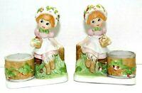 Vintage 1980 Jasco Strawberry Patches Porcelain Votive Candle Holders Set Of 2