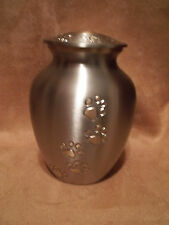 """Beautiful Pewter w/Gold Walking  Paw Prints Brass Pet Urn~5""""~for up to 28 Lbs"""