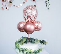 BALLOON CAKE TOPPER GARLAND ARCH BIRTHDAY DECOR HEN ROSE GOLD CONFETTI CHROME