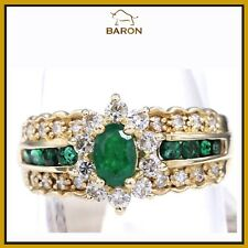 EMERALD RING CLASSIC VINTAGE 14K YELLOW GOLD DIAMONDS EMERALD RING SIZE 8 (md5