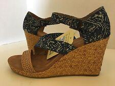 Toms Clarissa Blue Batik Textile Wrapped Wedge Size 9.5