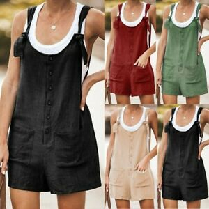 Rompers Womens Cotton Design Dungarees Jumpsuit Overalls Playsuits Pocket