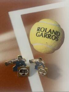 Pin's PINS tennis Roland Garros 1991 Chèque déjeuner 2 Tailles Différentes